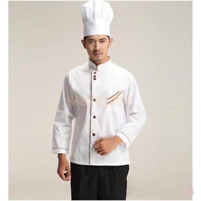 3x White Chef Jacket Men Women Clothes Long Sleeve Restaurant Cooks Clothing XL