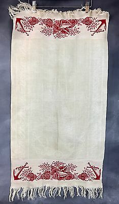 Antique Linen Damask Fringed Towel Seashell Nautical Anchor Turkey Red Victorian