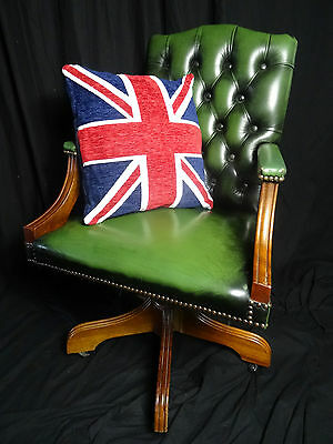 Regency Green Leather Chesterfield Gainsborough Style Swivel Office Armchair