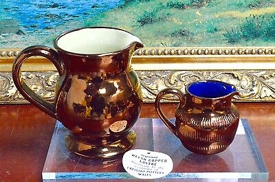 2 Traditional Welsh Copper Lustre Dresser Display Jugs Creigiau Pottery