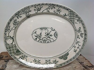 Antique Keeling & Co Victoria Green and White Transfer Serving Platter