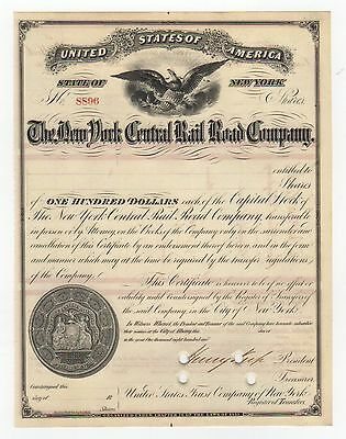 1870's Henry Keep - New York Central Railroad Stock Certificate