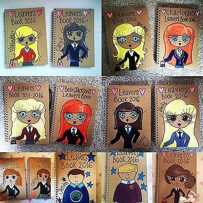 School Leavers Book A5 Hand Drawn And Painted Gift Personalised
