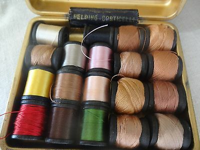 Vintage Belding Corticelli Darning Silk Thread 19 Spools with Box