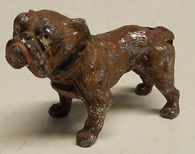 antique german cast lead METAL STANDING BULLDOG dog 1930's