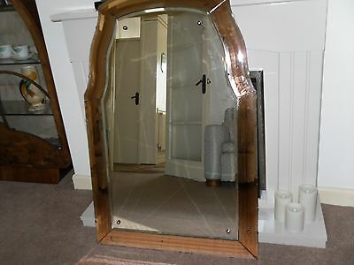 Art deco 1930s stylish large odeon peach wall mirror