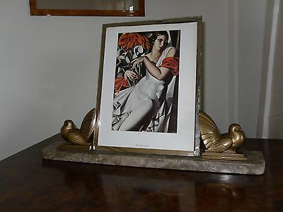 French  Art deco marble picture frame with spelter doves