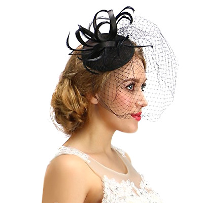 Women Black Fascinator Cocktail Hat With Veil Handmade For Wedding Tea Party