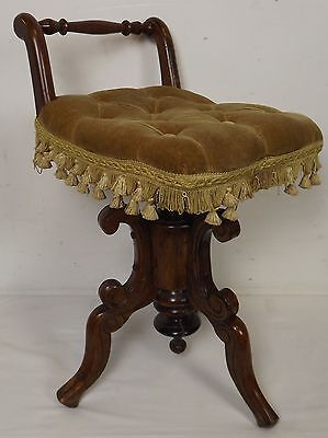 Antique Victorian Piano Stool Seat Chair With Mahogany Frame Adjustable Height