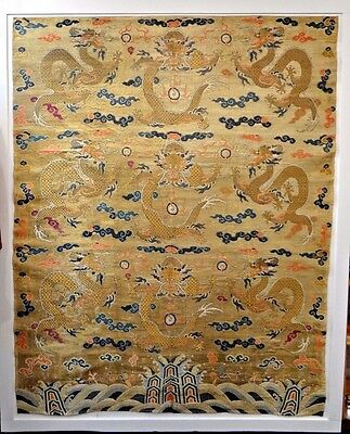18th C. Qing [Ching] Dynasty Chinese Imperial Yellow Silk Brocade 9 Dragon Panel