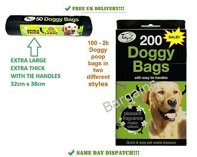 DOGGY BAGS SCENTED Pet Pooper Scooper Bag Dog Cat Poo Waste Toilet Poop FREE P&P