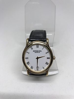 Raymond weil geneve mens watch 5571 18k gold e.p tradition date thin nice!!