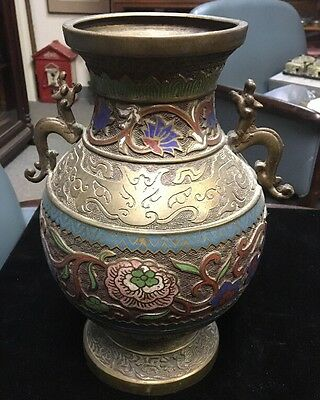 "Large 12"" Old Antique Japanese Bronze Brass Enamel Cloisonne Champleve Urn Vase"