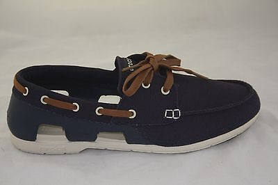 384a247b23 Men's Crocs Beach Line Lace-Up Boat Shoe Navy/Stucco Standard Fit 200247-