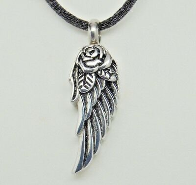 Wing Urn Necklace Silver Cremation Jewelry Angel Rose Memorial Keepsake Pendant