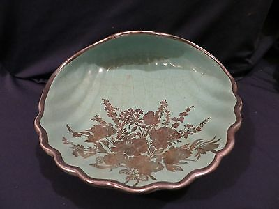 Beautiful Haeger Shell Shaped Silver Overlay Dish