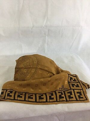 Vintage Fendi Lady's Silk Scarf In Gold And Black
