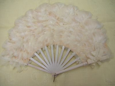 Vintage Antique Late 1800s Ladies Wood Handle Feather Hand FAN Beautiful