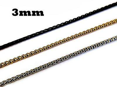 """Stainless steel Men Gold Silver Black 3mm Pearl Box Chain Necklace 18"""" - 36"""""""