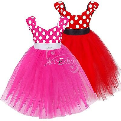Polka Dots Girls Princess Kids Baby Formal Party Wedding Pageant Formal Dresses
