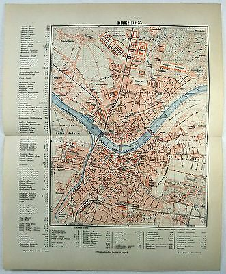 Original 1889 City Map of Dresden Germany by Meyers