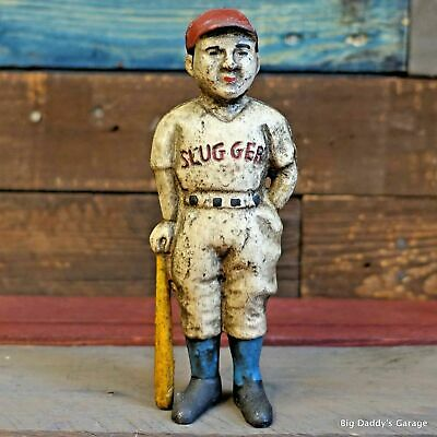 Cast Iron Bank Baseball Boy W/ Painted Antique Vintage Finish Decor Man Cave