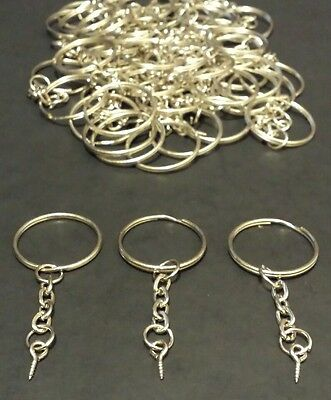 3 x Split Metal Key Rings With Chain, Loop and Screw! Multiple Purpose Uses!