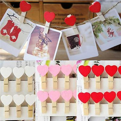 10 pcs Mini Wooden Heart Pegs Photo Clips Card Settings Wedding Party Decor NEW