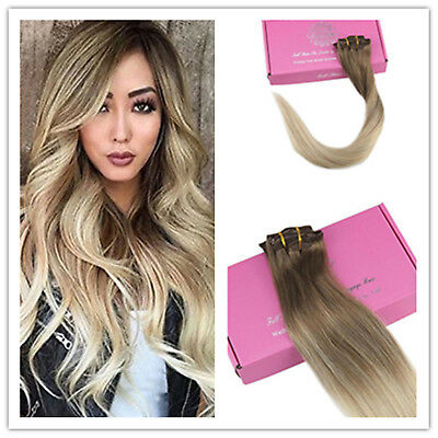 7pcs 70 Gram Blonde Balayage Clip in Hair Extensions Brazilian Remy Human Hair