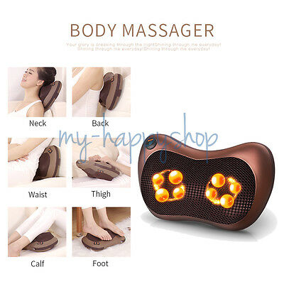 Vibrating Kneading Electric Massager Pillow Heat Massager With Home Car Adapter