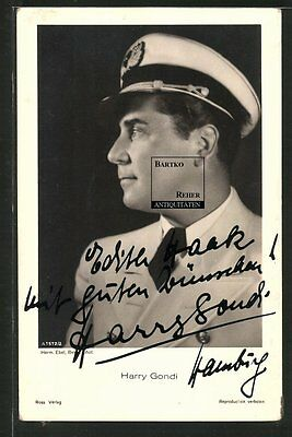 Harry Gondi Schauspieler Portrait Original Autograph Ross-Foto-AK ca. 1940