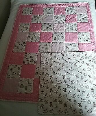 Handmade patchwork baby quilt, with cushion cover pink.  BP+cu.1