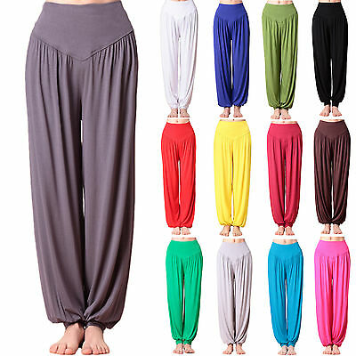 Womens Causal Gypsy Dance Yoga Harem Pants Wide Leg Baggy Trousers Plus UK 8-22