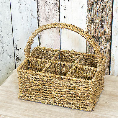 6 Compartment Vintage Seagrass Caddy Cutlery Condiment Storage Holder Basket