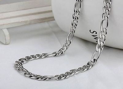 Mens Ladies Stainless Steel Silver Figaro Chain Necklace - 56Cm x5mm