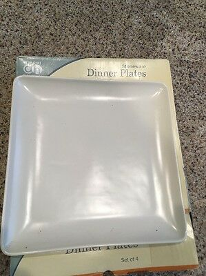 SB80 At Home With Meijer Large Square White Stoneware Dinner Plates 11 NIB Set 4