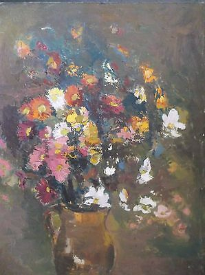 LARGE IMPRESSIONIST OIL ON CANVAS PAINTING signed 1960 A STILL LIFE OF FLOWERS