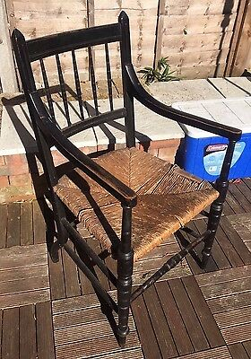 Antique Arts and Crafts Ebonised Rush Seat Armchair / Chair