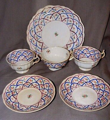 Antique Gaudy Welsh Swansea Lustre Cups & Saucers Cake Plate Criss Cross Pattern