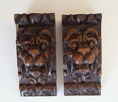 2 Antique carved wood figure LION HEAD salvaged furniture carving GOTHIC