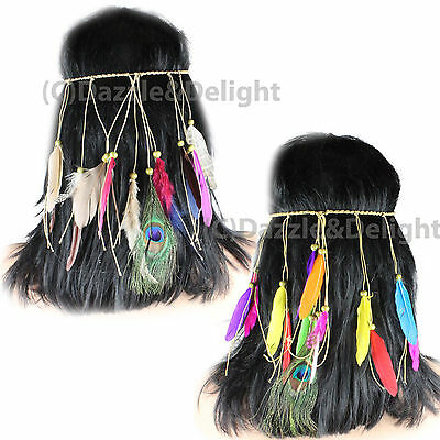 Feather Headpiece Festival Indian Carnival Hanging Feathers Headband Hair Crown
