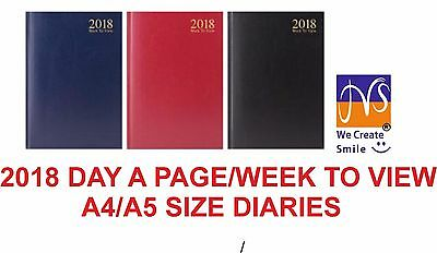 2018 Diary A4/A5 Day a Page/Week to View Hard Back Diary/Desk Diary/Calendar