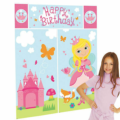 5 Piece Woodland Princess Pink Children's Party Scene Setter Wall Decorating Kit