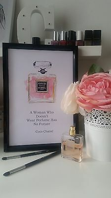 Coco Chanel perfume logo quote print poster wall art decor gift beauty fashion