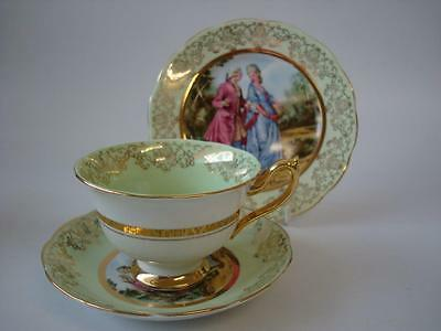 Ashley Fine Bone China Fragonard Courting Couple Love Story Trio