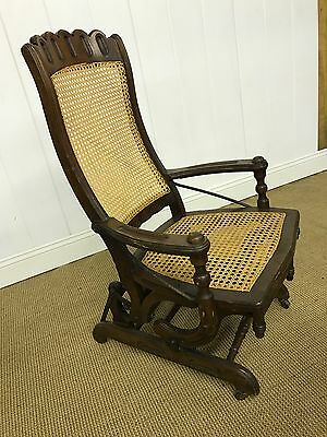 Antique Cane Seat 1880s Platform Rocking Chair Vtg Steam Punk