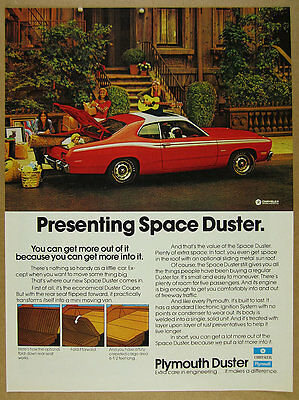 1972 Plymouth Space Duster Coupe red car photo vintage print Ad