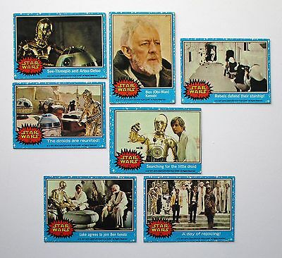 1977 Star Wars Trading Cards - Blue Series - Lot  of 7 - ungraded - very good