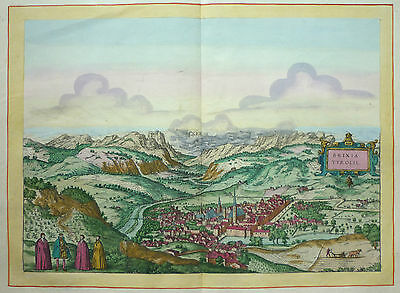 Brown/Hogenberg Anna Beek: Old coloured Copperplate Brixen South tyrol;