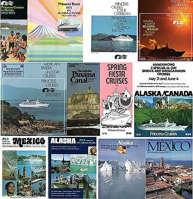 12 Early Princess Cruises Brochures '72-77- Plans/Pics-NAUTIQUES sHiPs WORLDWIDE